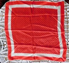 Vintage 1950's Pure Silk Red With Black And White Polka Dots Ladies Scarf