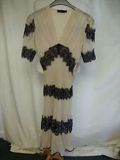 Ladies Dress All Saints nude & black lace, UK 6, US 4, pure silk, with slip 2271