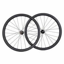Disc brake 40mm carbon wheel clincher road bike 700C UD Matt Novatec thru axle