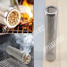 Round Smoker Wood Pellet BBQ Grill Hot Cold Smoke Generator Smoking Mesh Tube UK