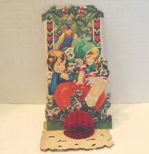 Antique Valentine. Bavaria. Fold out. 3 layers. Boy-Girl-Arbor/ with bird.