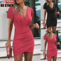 Women's Short Sleeve Bodycon Dress Ladies Sexy Clubwear Party V Neck Mini Dress