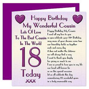 My Wonderful Cousin Lots Of Love Happy Birthday Card - Age Range 18 - 100 Years