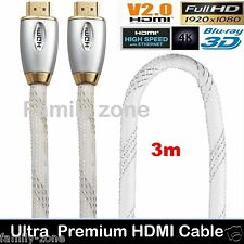 Ultra Superior Premium HDMI Cable V2.0 Gold Plated High Speed Audio Ethernet 3m