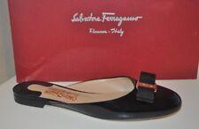 NIB Salvatore Ferragamo EMILE Rounded Toe Bow Mule Slides Shoes Black Patent 7.5