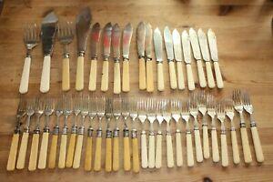 Antique Vintage Faux Bone Handle Cutlery Job Lot - Knives, Forks & Fish Servers