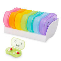 Pill Box AM PM 7 Day Medication Tablet Storage Case Organizer Dispenser Portable