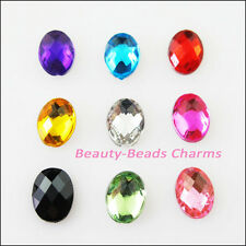 150Pcs Mixed Faceted Oval Ellipse Acrylic Plastic Rhinestone Flat Back 6x8mm