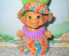 "Custom Troll Clothes / 3"" Bonnet + Dress Multi for doll crocheted Wishnik Us up"