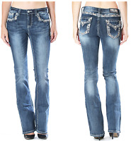 GRACE IN LA Boot Mid Easy Bootcut Embellished Jeans 26 27 28 29 30 31 32 33 34