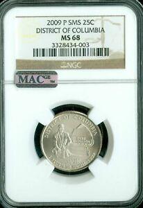 2009-P DISTRICT COLUMBIA QUARTER NGC MAC MS68 SMS PQ 2ND FINEST MAC SPOTLESS *