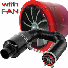 Car Carbon Fibre Air Intake Filter Induction Kit, Fan, Cold Air Feed Pipe,Clamps