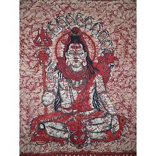 Couverture indienne Tenture Shiva bordeaux 230x210cm