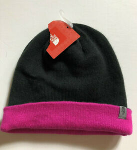The North Face Hat Winter Beanie Black Knit Pink Inside Womens Mens Unisex NEW r