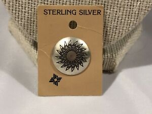 Six 6 Etched SUNFACE BUTTON COVERS in Silver Tone Tribal Southwestern Theme Design Clip On Closures Fasteners Sewing Hobby Crafts Tools