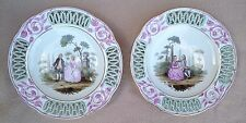 PAIR N2 EARLY ANTIQUE ROYAL VIENNA WIEN PORCELAIN PIERCED PLATES GALANT SCENES