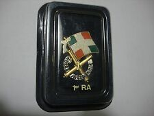 French Army 1er Régiment d'Artillerie (1st RA) Rocket Arty Rgt Metal Badge + Box