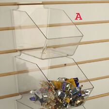 """Slatwall Acrylic Bins Small Bin 6"""" L x 5.5"""" H x 7.5"""" D - Clear - 10 Pieces"""