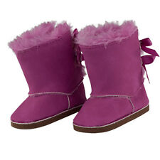 """MangoPeaches 18"""" doll Pink Winter Boots W/ 2 back bows & Pink FUR,Suede Style"""