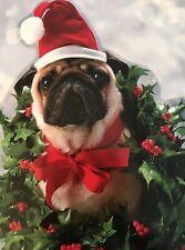 Pugs and Kisses! Dog, Pup, Santa Hat, Avanti Press Christmas Card, 2002, 1 CARD