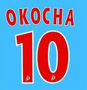 Flocage OKOCHA n°10 rouge PSG  patch shirt Paris Saint Germain maillot