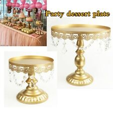 3pcs Gold Crystal Round Cake Stand Display Dessert Holder Wedding Party Decor UK