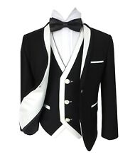SIRRI Exclusive Black & White Single Button Boys Suit Wedding Kids  Suits