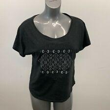 Roxy Scoop Neck T Shirt Women's Size Large Black Cotton Blend Short Sleeve Tee