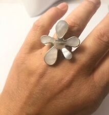 Sterling Silver Large Abstract Mother Of Pearl Ring Size Q - Adjustable