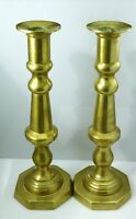 """Vintage Solid Brass Gold Candle Holders Candlesticks Set 2 Taper 11"""" Tall Heavy"""