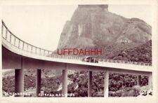 SAN CONRADO - ESTRADA DA CANOA 1940's era auto on highway bridge RPPC BRAZIL