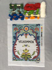 Norwegian Velkommen Welcome Needlepoint Kit Hand Painted Canvas, All Thread Yarn