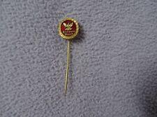 allmanna brand red enamel & gold tone sweden pin sporrong & co stockholm  vtg