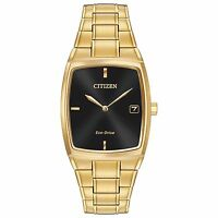 Citizen Eco-Drive Men's AU1072-52E Tonneau Black Dial Gold Tone Case 44mm Watch