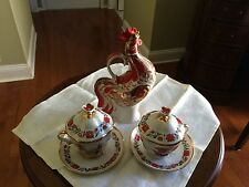 ORIGINAL RUSSIAN IMPERIAL LOMONOSOV PORCELAIN ROOSTER TEA SET WITH DECANTER