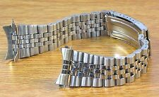 20mm Curved Jubilee Style Silver Tone Stainless Metal Watch Band Bracelet