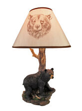 Zeckos Black Bear and Tree Table Lamp with Shade 20 In.