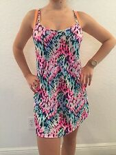 Victoria Secret Pink Rainbow Stretchy strappy neon Cover Up swim skater Dress S