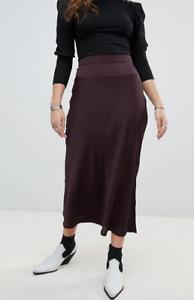 FREE PEOPLE Normani Bias Midi Skirt in Burgundy Size XS NWT RRP £70.00