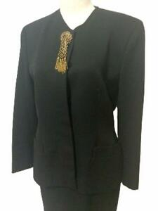 Gemmy Italy Designer Black Executive Skirt Suit Evening Sz 10 Vtg In Garment Bag