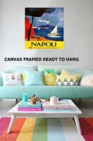 Art Print Vintage painting Italy Napoli Boats volcano travel Canvas framed