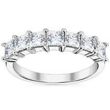 1.05Ct Amazing Square Brilliant Cut Moissanite 7 Stone Wedding Band Ring 14K Wg