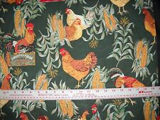 "100%  Cotton Fabric BTY 45"" Hunter Green Roosters/Chicks"