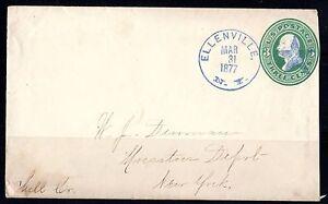 US 1877 ELLENVILLE, NY SUPERB STAR FANCY CANCEL BLUE DATED MAR 31,1877