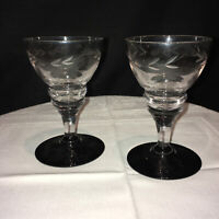 2 BEAUTIFUL VINTAGE ART DECO ETCHED GLASS DRINK BAR WINE SHERRY APÉRITIF FRENCH
