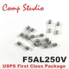 compstudio New 10X F5AL250V 5A 250V Fast Blow Fuse Glsss 5x20mm US Ship