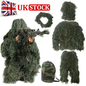 Adults Ghillie Burlap Suit 3D Woodland Camouflage Clothes Hunting Forest Sniper