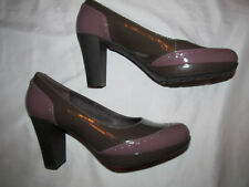 CAMPER ARIADNA taupe brown and purple court patent leather pumps shoes 38 8 M