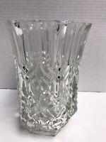 """Vintage Large 8"""" Crystal Vase Clear Glass Floral Arrangement Vase Made In France"""