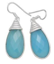 Blue Chalcedony Gemstone Earrings Solid 925 Sterling Silver Jewelry IE20662